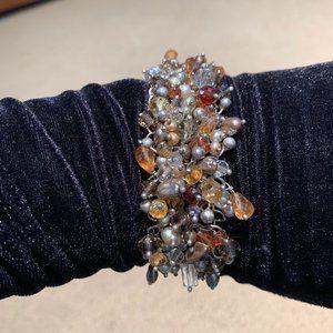 Sterling silver crystal beaded bracelet